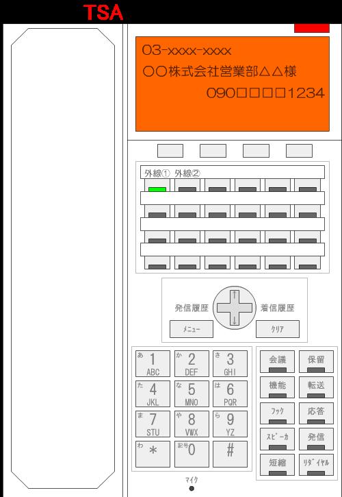 電話機の液晶画面が、短縮登録時に設定した液晶画面のバックライトの色に変化します。