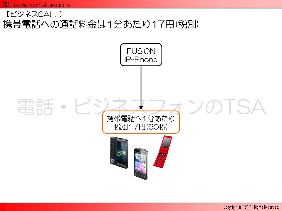 携帯電話への通話料金は1分あたり17円(税別)