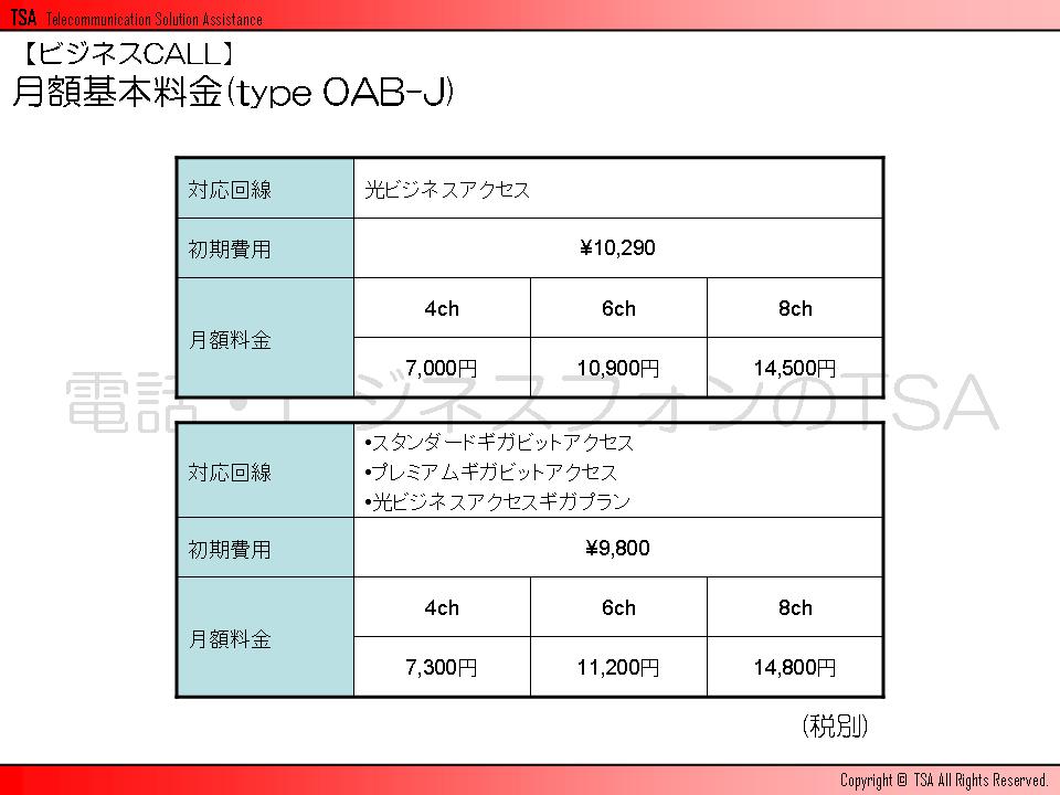 ビジネスCALLの月額基本料金(type 0AB-J)