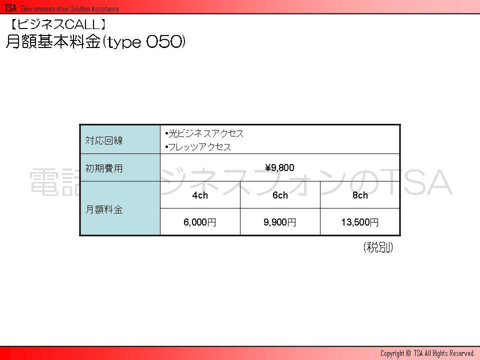 ビジネスCALLの月額料金(type 050)