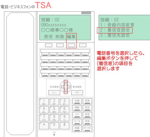 電話番号を選択したら、編集ボタンを押して、[着信音]の項目を選択します。